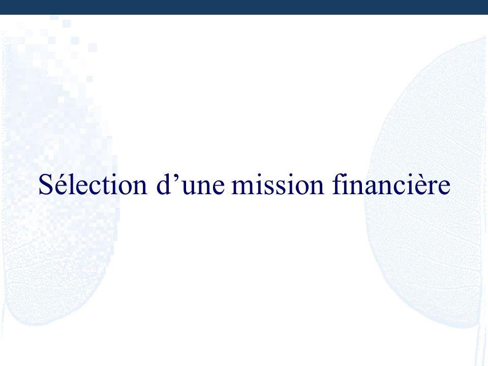 Sélection dune mission financière
