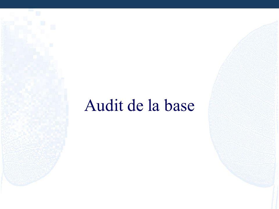 Audit de la base