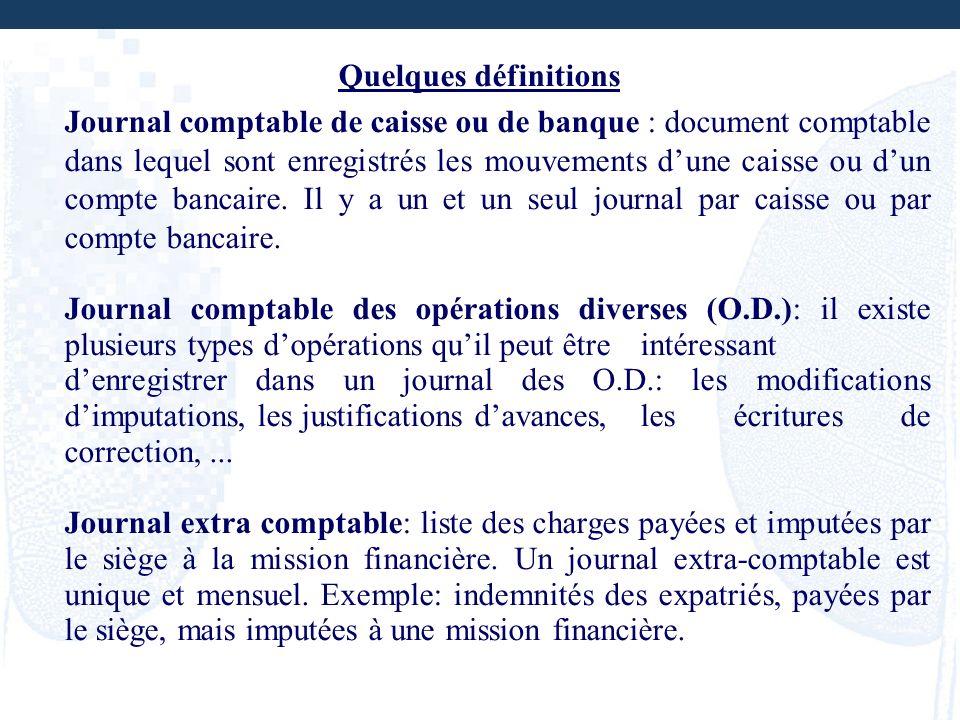 Quelques définitions Journal comptable de caisse ou de banque : document comptable dans lequel sont enregistrés les mouvements dune caisse ou dun comp