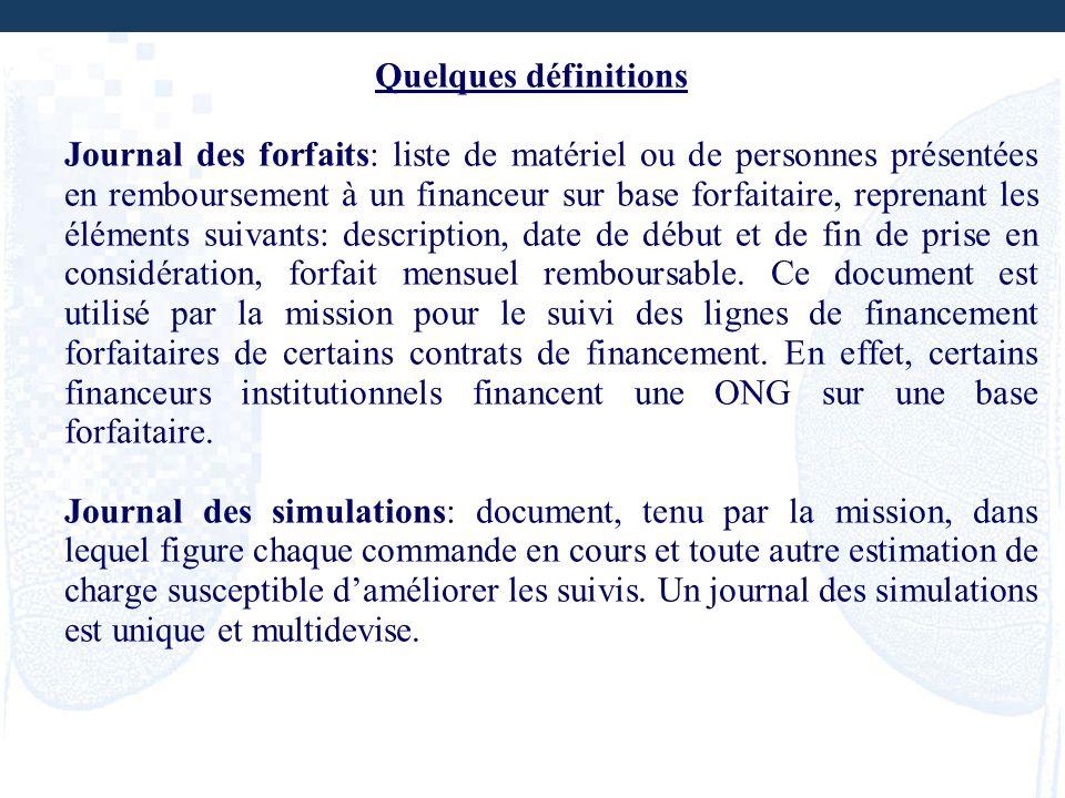 Quelques définitions Journal des forfaits: liste de matériel ou de personnes présentées en remboursement à un financeur sur base forfaitaire, reprenan
