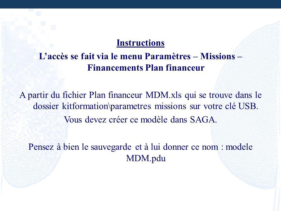 Instructions Laccès se fait via le menu Paramètres – Missions – Financements Plan financeur A partir du fichier Plan financeur MDM.xls qui se trouve d