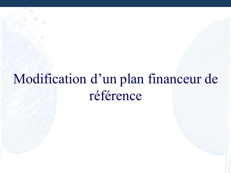 Modification dun plan financeur de référence