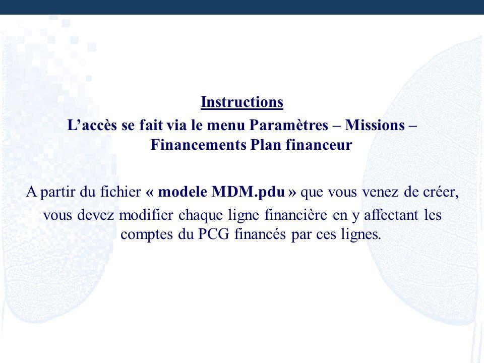 Instructions Laccès se fait via le menu Paramètres – Missions – Financements Plan financeur A partir du fichier « modele MDM.pdu » que vous venez de c