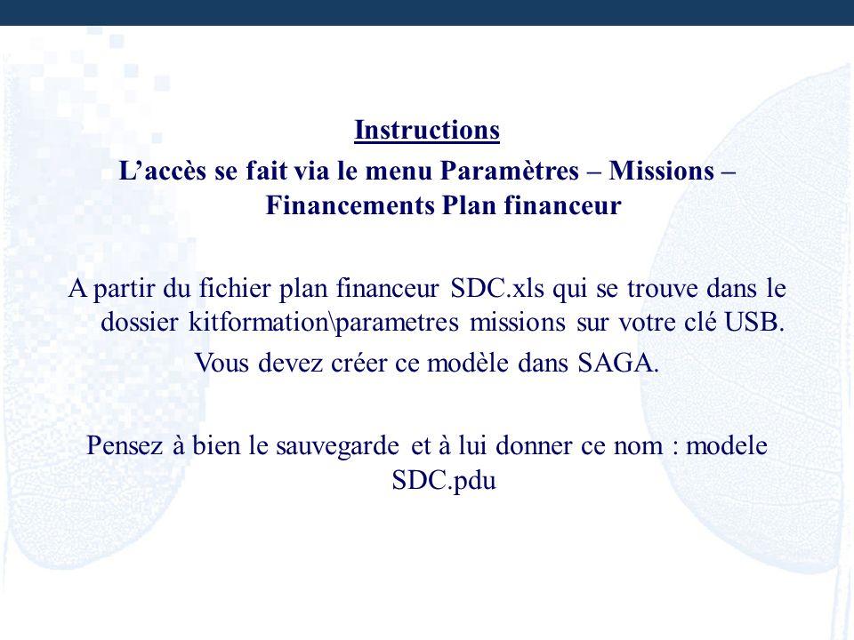 Instructions Laccès se fait via le menu Paramètres – Missions – Financements Plan financeur A partir du fichier plan financeur SDC.xls qui se trouve d