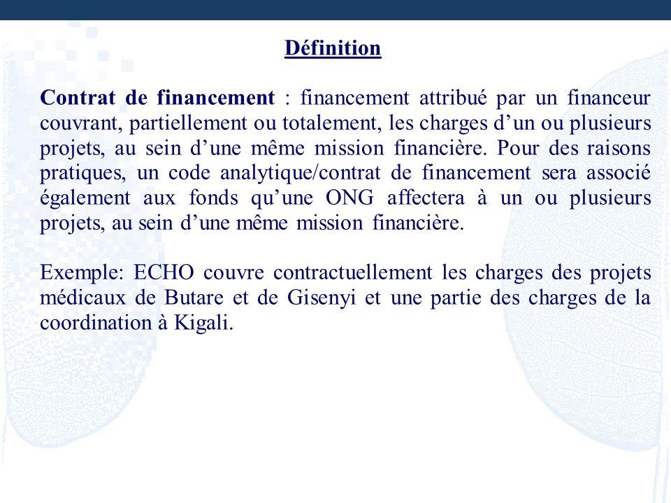 Définition Contrat de financement : financement attribué par un financeur couvrant, partiellement ou totalement, les charges dun ou plusieurs projets,