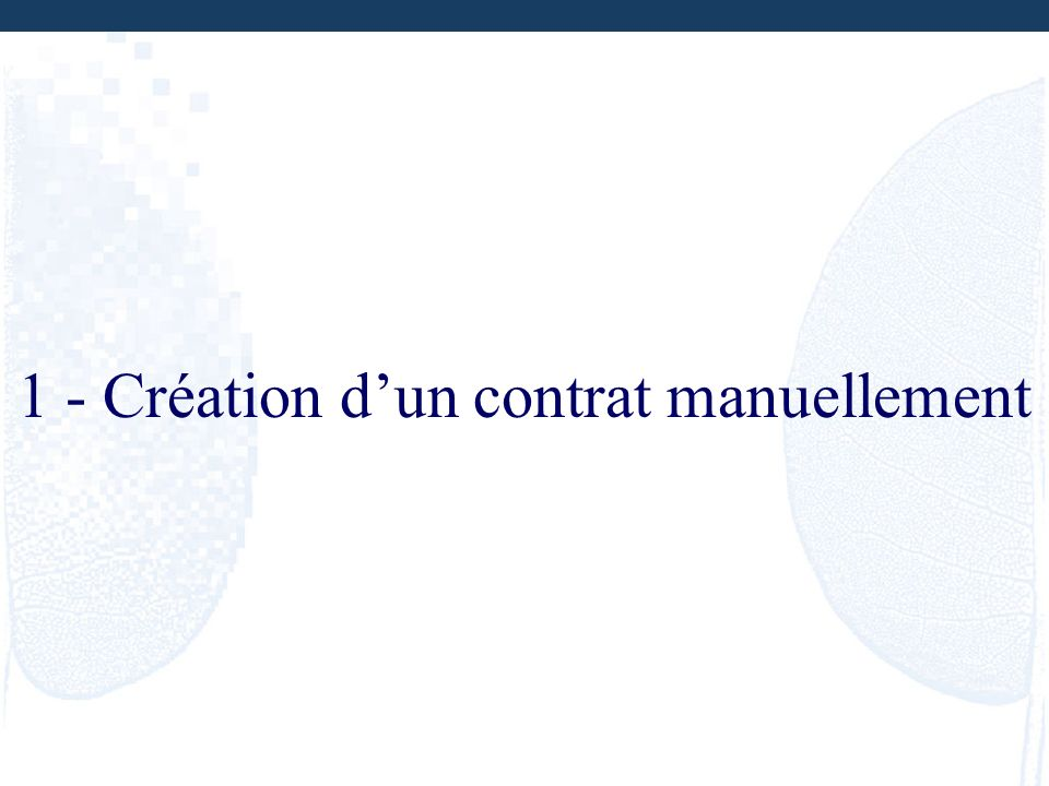 1 - Création dun contrat manuellement
