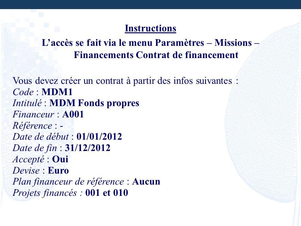 Instructions Laccès se fait via le menu Paramètres – Missions – Financements Contrat de financement Vous devez créer un contrat à partir des infos sui