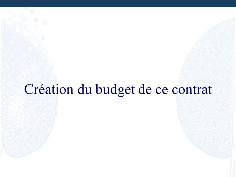 Création du budget de ce contrat