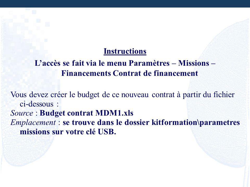 Instructions Laccès se fait via le menu Paramètres – Missions – Financements Contrat de financement Vous devez créer le budget de ce nouveau contrat à