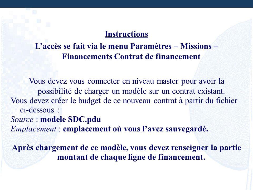 Instructions Laccès se fait via le menu Paramètres – Missions – Financements Contrat de financement Vous devez vous connecter en niveau master pour av