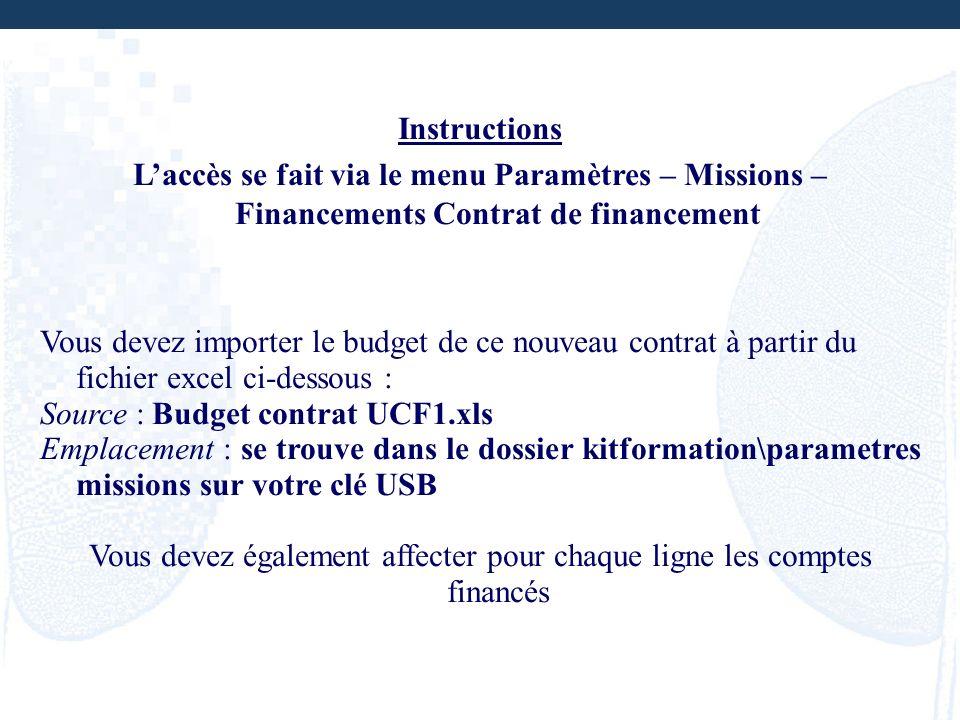 Instructions Laccès se fait via le menu Paramètres – Missions – Financements Contrat de financement Vous devez importer le budget de ce nouveau contra