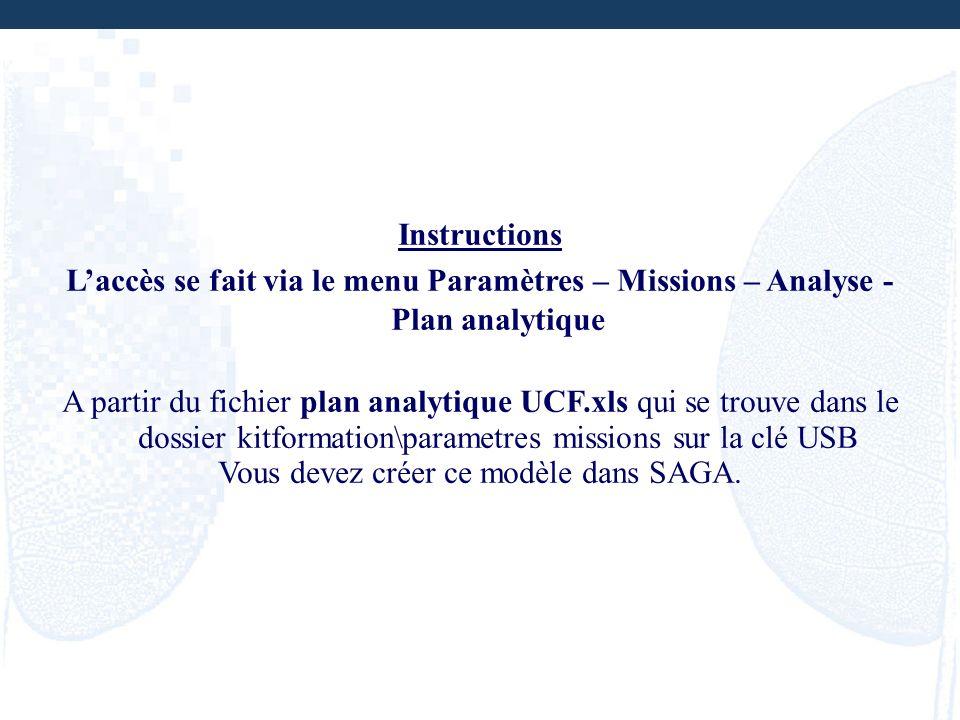 Instructions Laccès se fait via le menu Paramètres – Missions – Analyse - Plan analytique A partir du fichier plan analytique UCF.xls qui se trouve da
