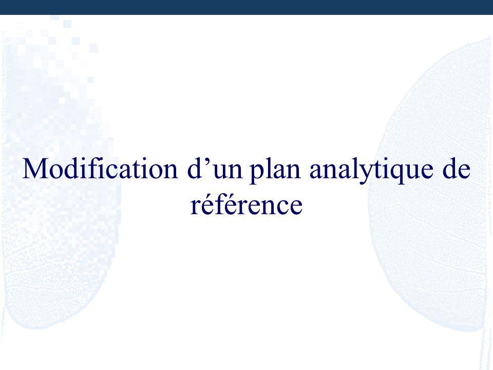 Modification dun plan analytique de référence