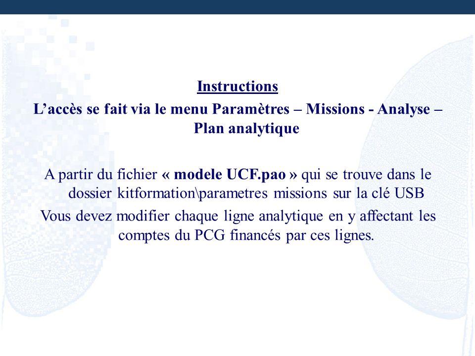 Instructions Laccès se fait via le menu Paramètres – Missions - Analyse – Plan analytique A partir du fichier « modele UCF.pao » qui se trouve dans le