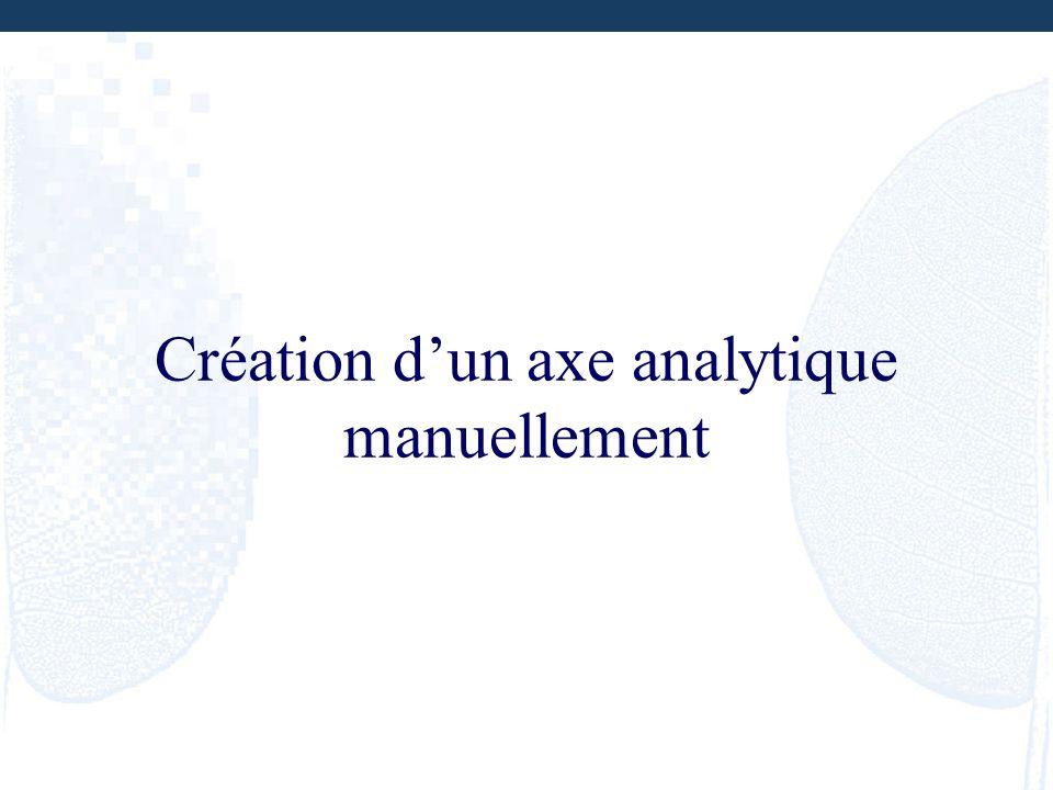 Création dun axe analytique manuellement