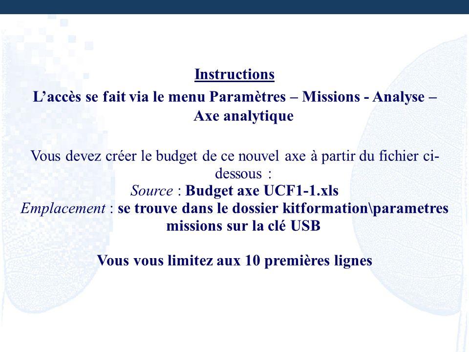 Instructions Laccès se fait via le menu Paramètres – Missions - Analyse – Axe analytique Vous devez créer le budget de ce nouvel axe à partir du fichi