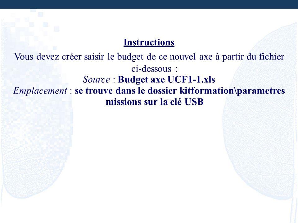 Instructions Vous devez créer saisir le budget de ce nouvel axe à partir du fichier ci-dessous : Source : Budget axe UCF1-1.xls Emplacement : se trouv