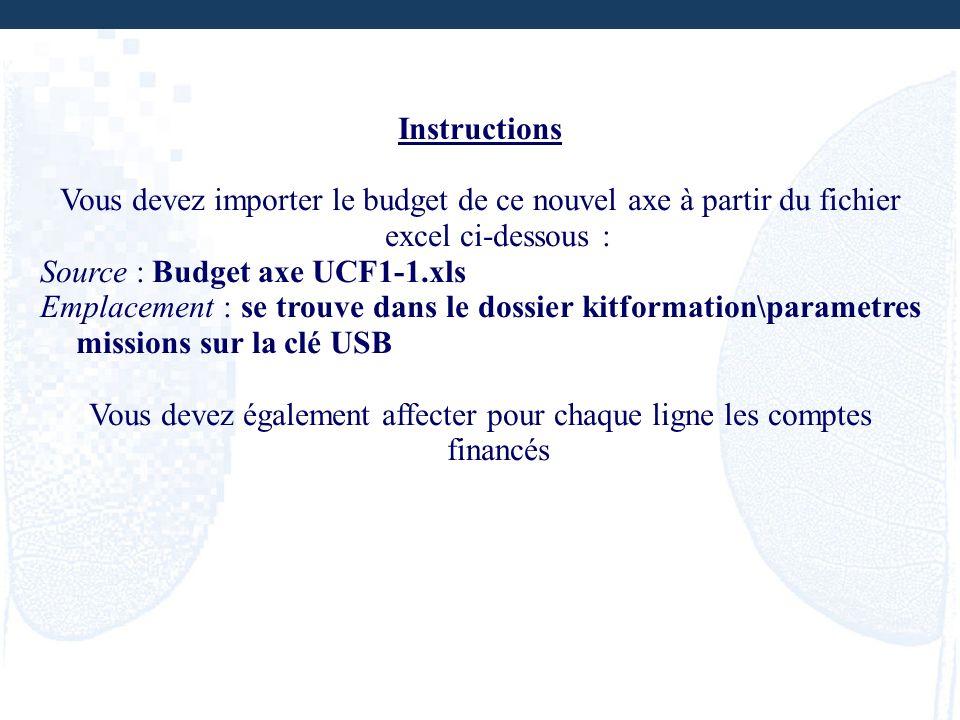 Instructions Vous devez importer le budget de ce nouvel axe à partir du fichier excel ci-dessous : Source : Budget axe UCF1-1.xls Emplacement : se tro