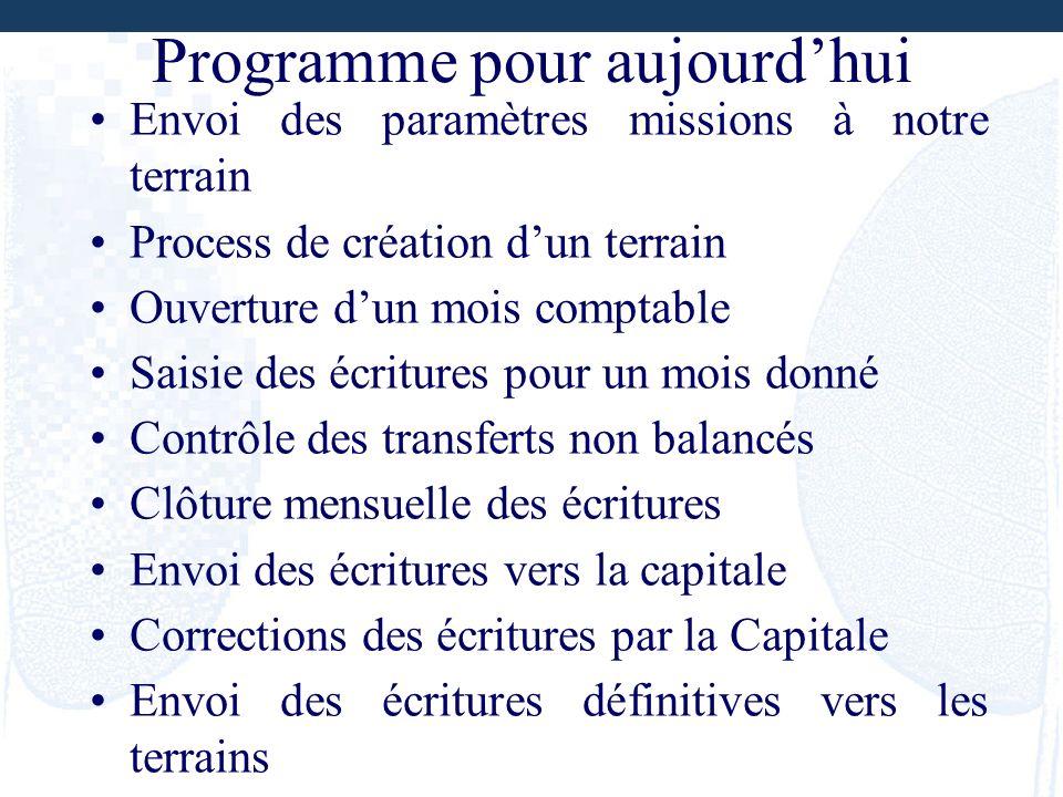 Programme pour aujourdhui Envoi des paramètres missions à notre terrain Process de création dun terrain Ouverture dun mois comptable Saisie des écritu
