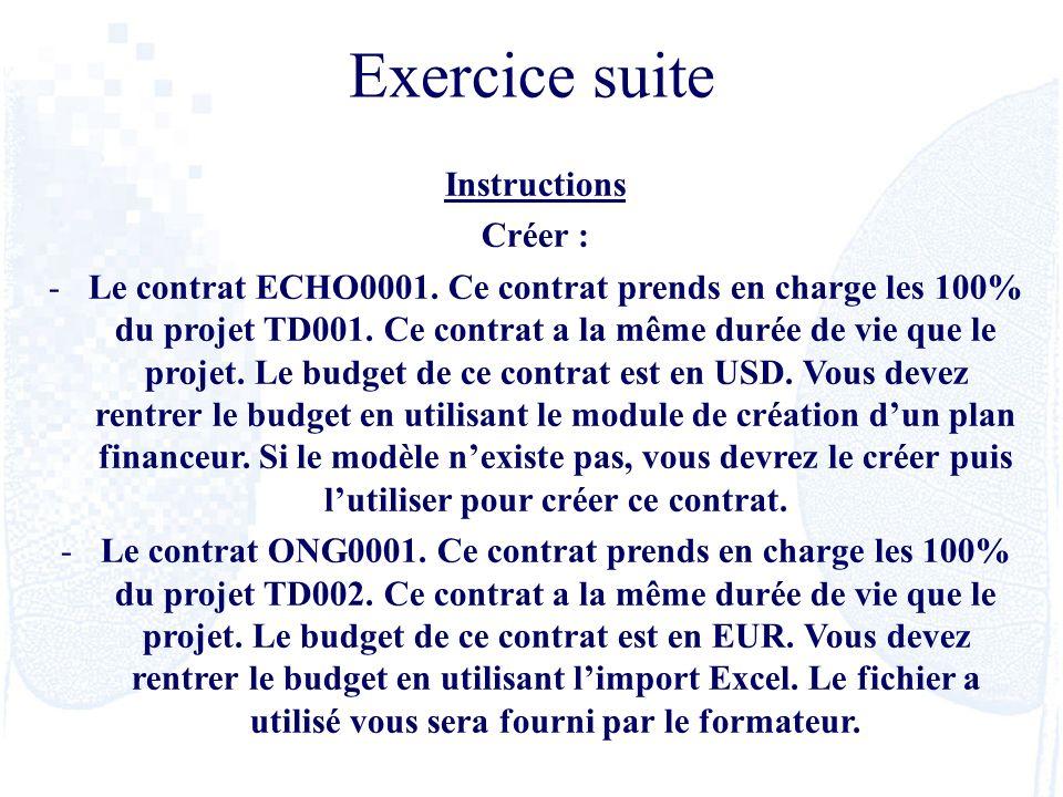 Instructions Créer : -Le contrat ECHO0001. Ce contrat prends en charge les 100% du projet TD001. Ce contrat a la même durée de vie que le projet. Le b