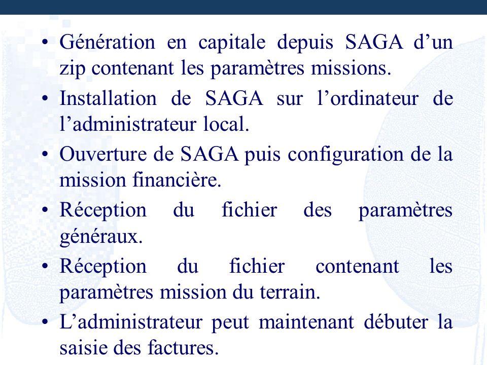 Génération en capitale depuis SAGA dun zip contenant les paramètres missions. Installation de SAGA sur lordinateur de ladministrateur local. Ouverture