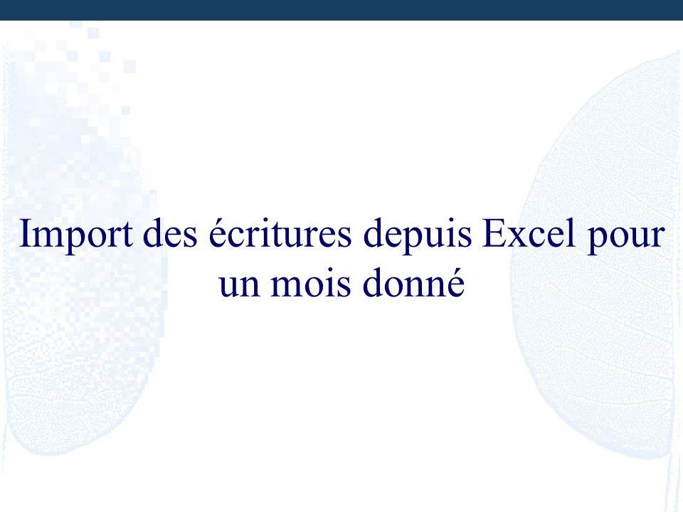 Import des écritures depuis Excel pour un mois donné