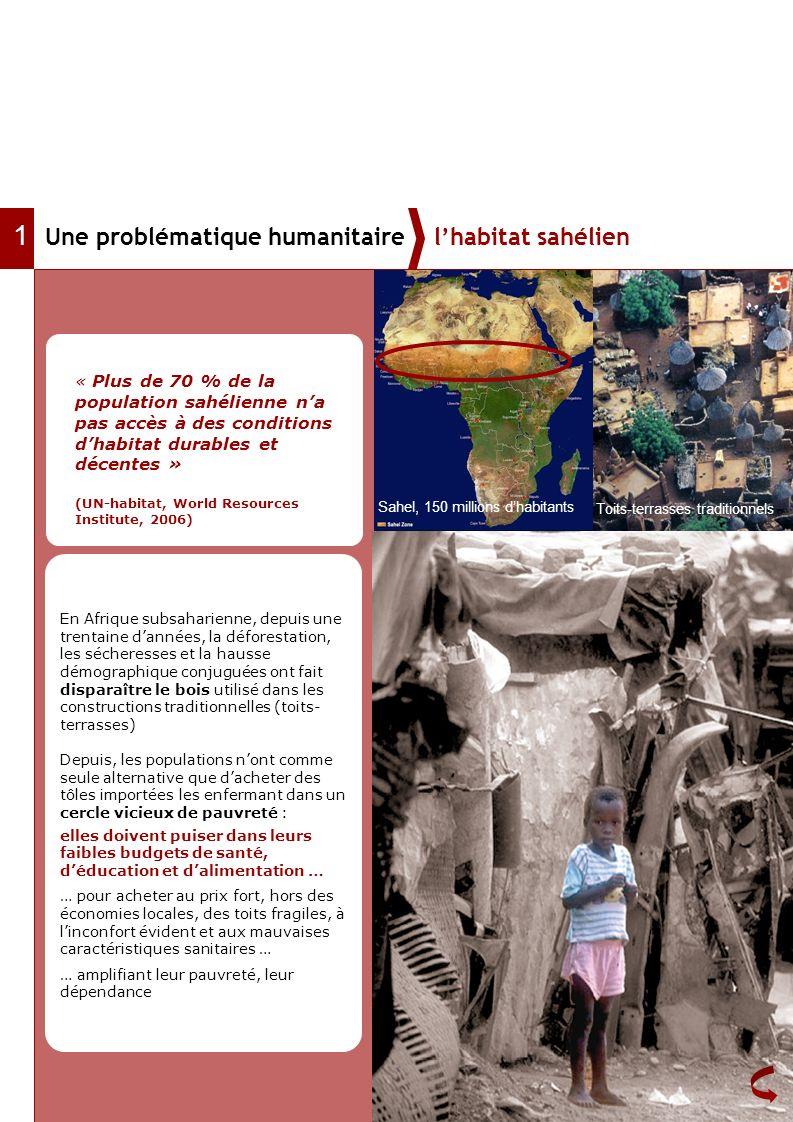 Une problématique humanitaire lhabitat sahélien 1 Toits-terrasses traditionnels Sahel, 150 millions dhabitants En Afrique subsaharienne, depuis une tr