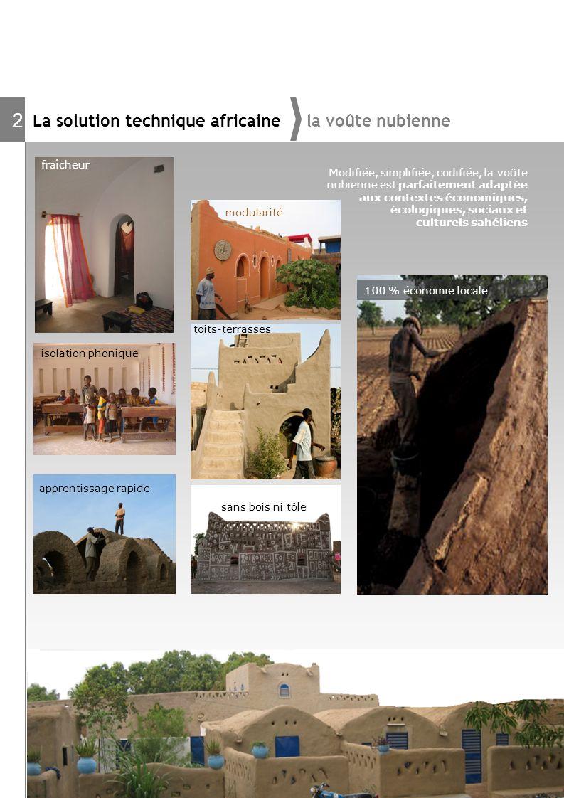 La solution technique africaine la voûte nubienne 2 fraîcheur apprentissage rapide sans bois ni tôle isolation phonique 100 % économie locale modulari