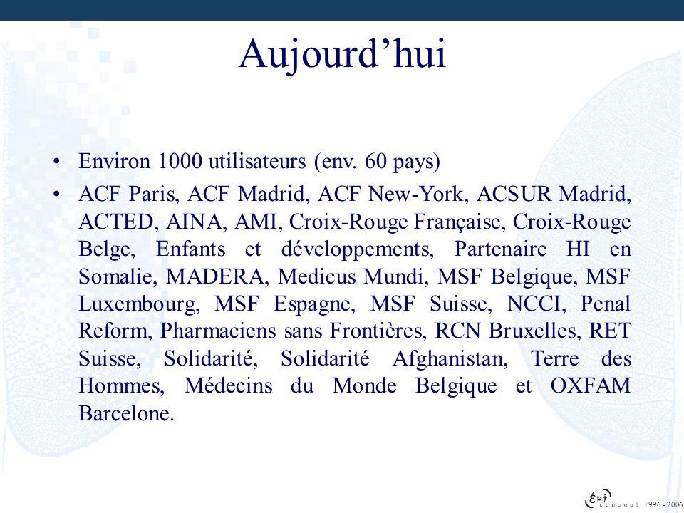 1996 - 2006 Aujourdhui Environ 1000 utilisateurs (env. 60 pays) ACF Paris, ACF Madrid, ACF New-York, ACSUR Madrid, ACTED, AINA, AMI, Croix-Rouge Franç