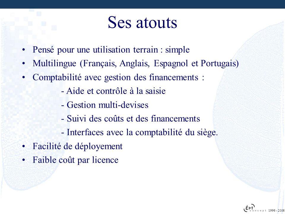 Ses atouts Pensé pour une utilisation terrain : simple Multilingue (Français, Anglais, Espagnol et Portugais) Comptabilité avec gestion des financemen