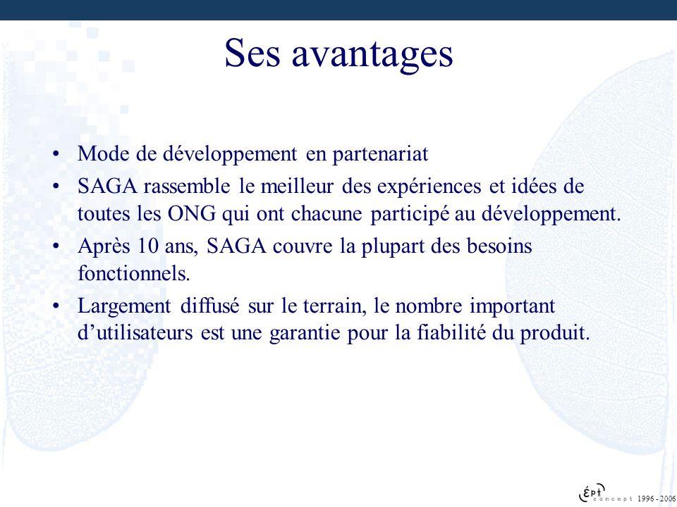 1996 - 2006 Ses avantages Mode de développement en partenariat SAGA rassemble le meilleur des expériences et idées de toutes les ONG qui ont chacune p