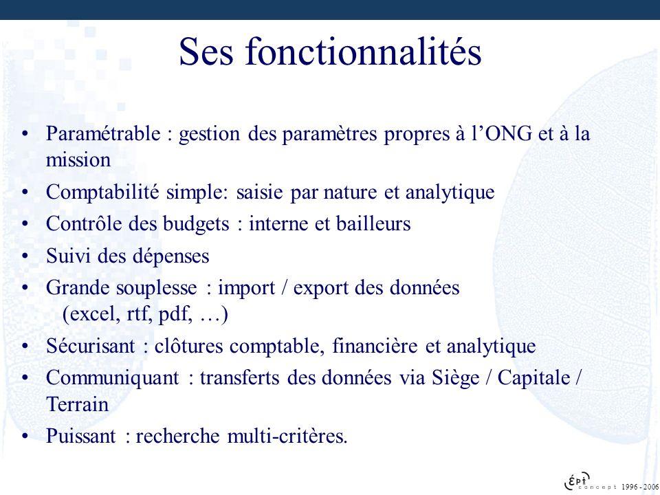 1996 - 2006 Ses fonctionnalités Paramétrable : gestion des paramètres propres à lONG et à la mission Comptabilité simple: saisie par nature et analyti