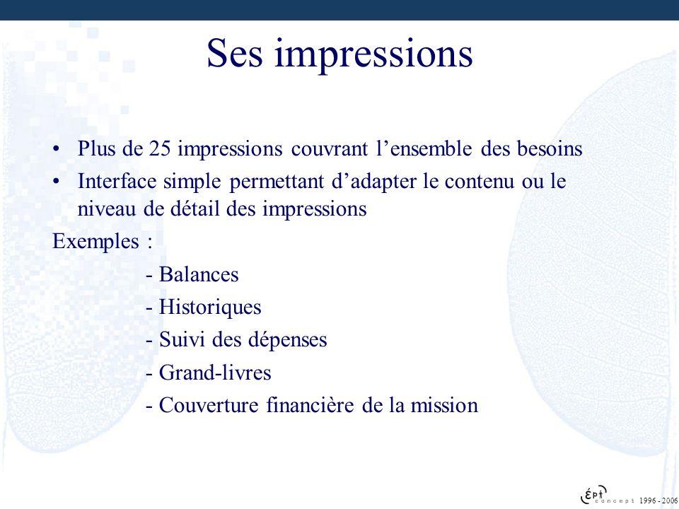 1996 - 2006 Ses impressions Plus de 25 impressions couvrant lensemble des besoins Interface simple permettant dadapter le contenu ou le niveau de déta
