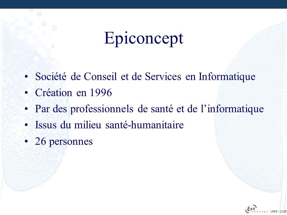 Société de Conseil et de Services en Informatique Création en 1996 Par des professionnels de santé et de linformatique Issus du milieu santé-humanitai