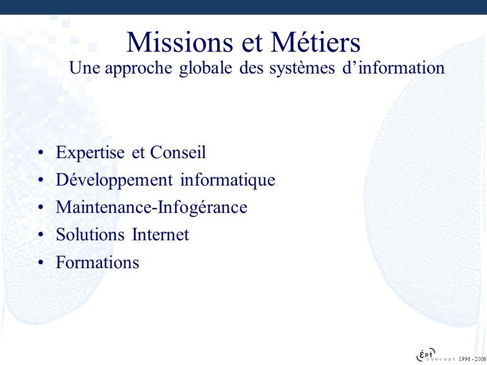 1996 - 2006 Missions et Métiers Expertise et Conseil Développement informatique Maintenance-Infogérance Solutions Internet Formations Une approche glo