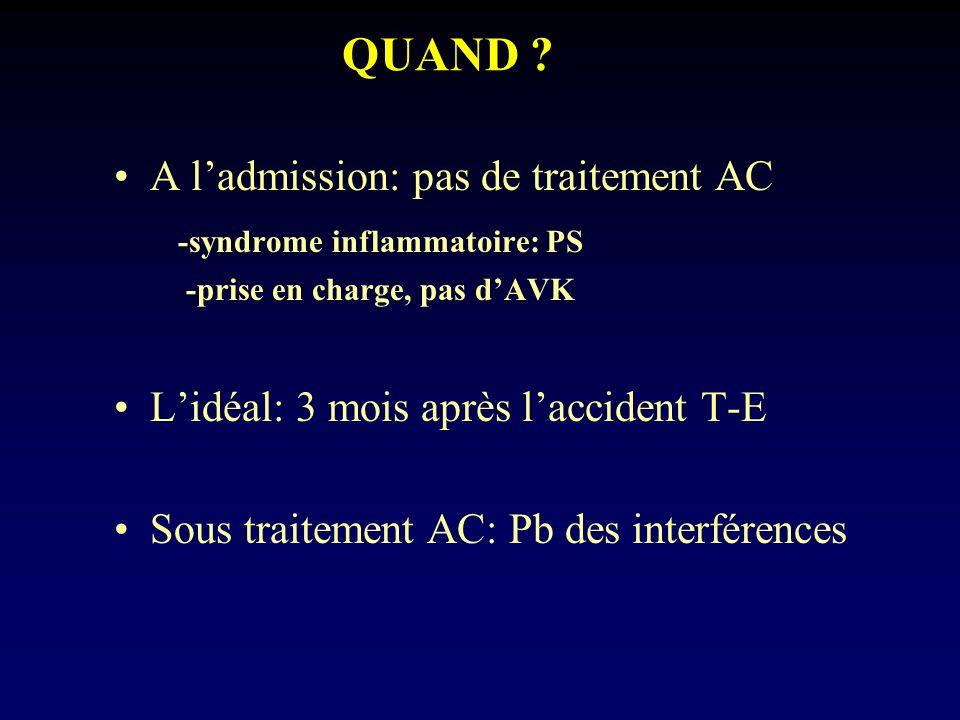 QUAND ? A ladmission: pas de traitement AC -syndrome inflammatoire: PS -prise en charge, pas dAVK Lidéal: 3 mois après laccident T-E Sous traitement A