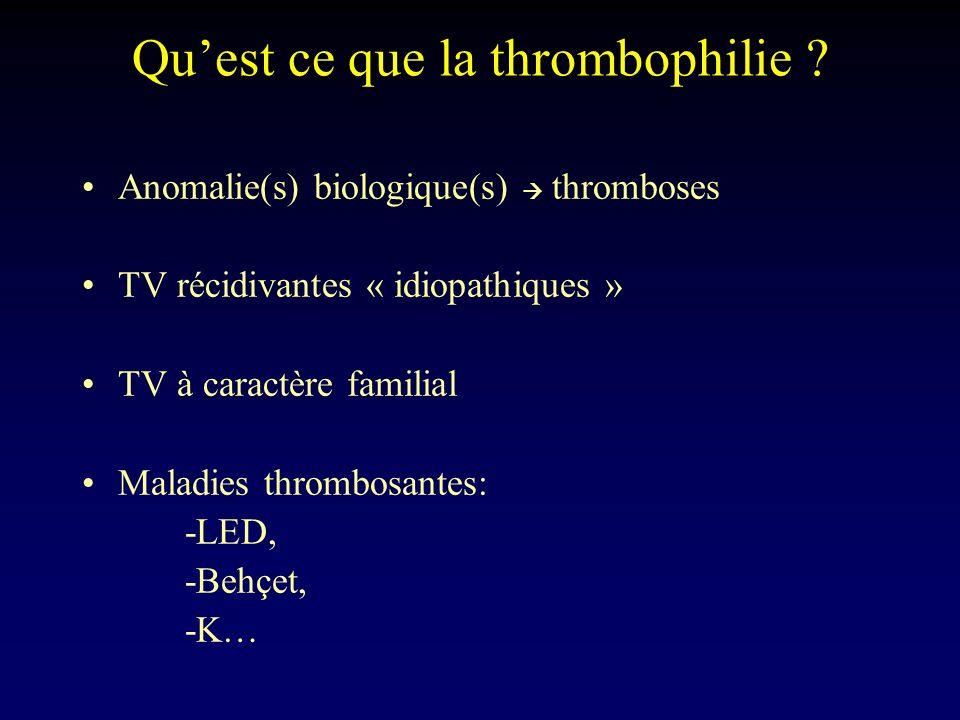 Quest ce que la thrombophilie ? Anomalie(s) biologique(s) thromboses TV récidivantes « idiopathiques » TV à caractère familial Maladies thrombosantes: