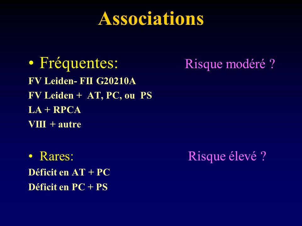 Associations Fréquentes: Risque modéré ? FV Leiden- FII G20210A FV Leiden + AT, PC, ou PS LA + RPCA VIII + autre Rares: Risque élevé ? Déficit en AT +