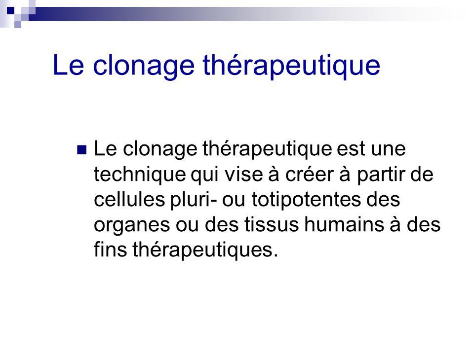 Le clonage thérapeutique Le clonage thérapeutique est une technique qui vise à créer à partir de cellules pluri- ou totipotentes des organes ou des ti