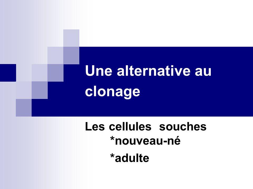 Une alternative au clonage Les cellules souches *nouveau-né *adulte