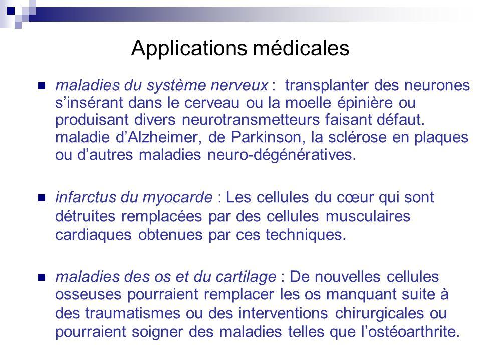 Applications médicales maladies du système nerveux : transplanter des neurones sinsérant dans le cerveau ou la moelle épinière ou produisant divers ne