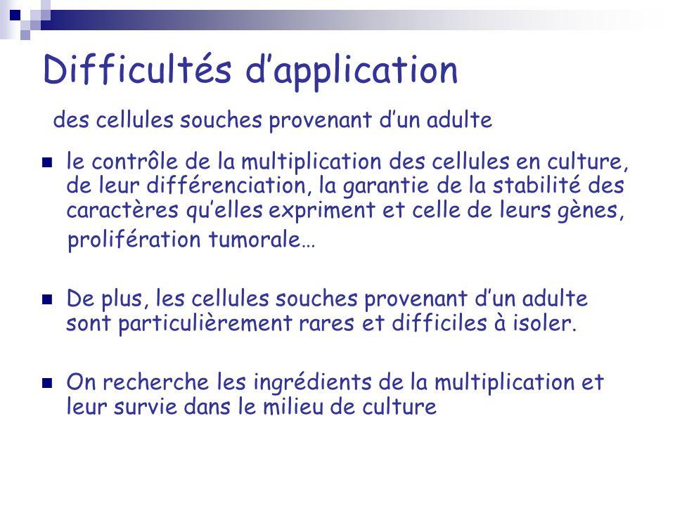 Difficultés dapplication des cellules souches provenant dun adulte le contrôle de la multiplication des cellules en culture, de leur différenciation,
