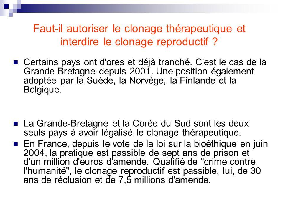 Faut-il autoriser le clonage thérapeutique et interdire le clonage reproductif ? Certains pays ont d'ores et déjà tranché. C'est le cas de la Grande-B