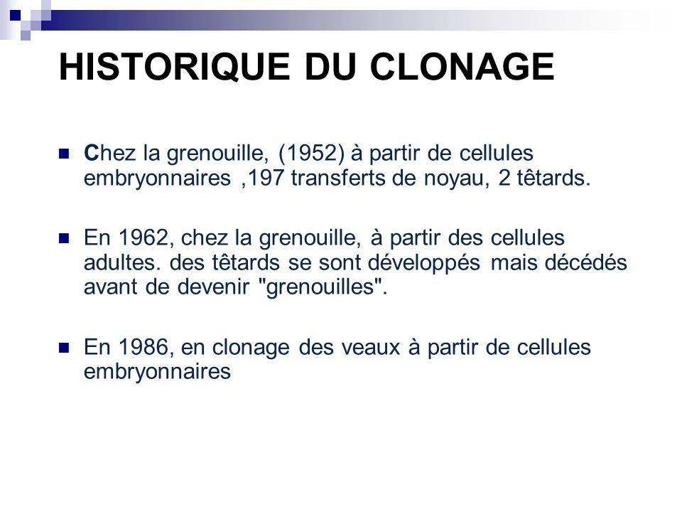 HISTORIQUE DU CLONAGE Chez la grenouille, (1952) à partir de cellules embryonnaires,197 transferts de noyau, 2 têtards. En 1962, chez la grenouille, à