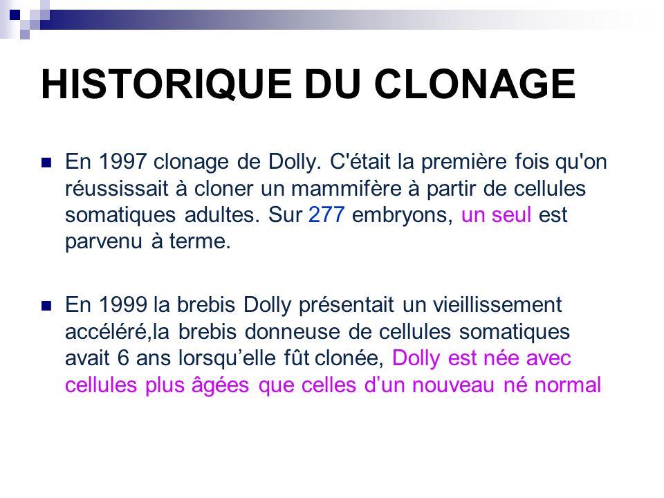 HISTORIQUE DU CLONAGE En 1997 clonage de Dolly. C'était la première fois qu'on réussissait à cloner un mammifère à partir de cellules somatiques adult