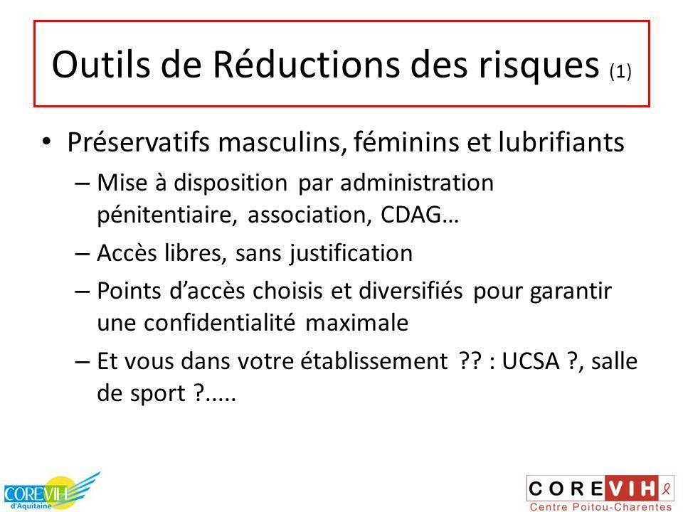 Outils de Réductions des risques (1) Préservatifs masculins, féminins et lubrifiants – Mise à disposition par administration pénitentiaire, associatio