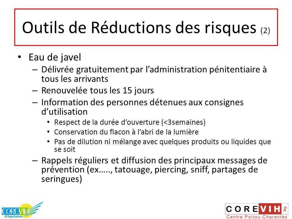 Outils de Réductions des risques (2) Eau de javel – Délivrée gratuitement par ladministration pénitentiaire à tous les arrivants – Renouvelée tous les