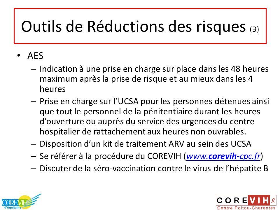 Outils de Réductions des risques (3) AES – Indication à une prise en charge sur place dans les 48 heures maximum après la prise de risque et au mieux