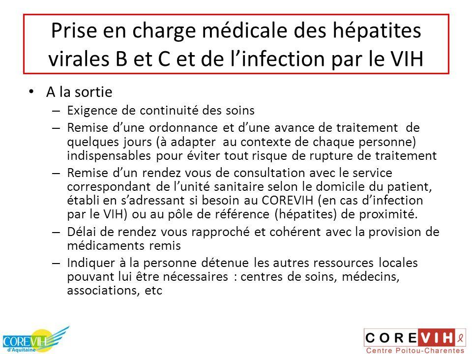 Prise en charge médicale des hépatites virales B et C et de linfection par le VIH A la sortie – Exigence de continuité des soins – Remise dune ordonna