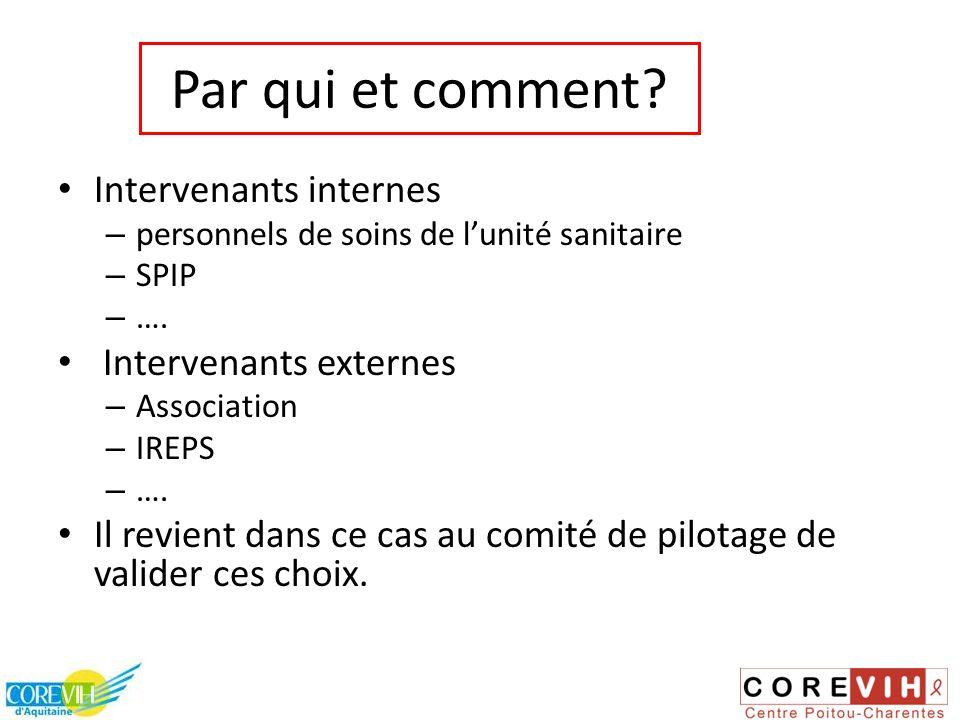 Par qui et comment? Intervenants internes – personnels de soins de lunité sanitaire – SPIP – …. Intervenants externes – Association – IREPS – …. Il re